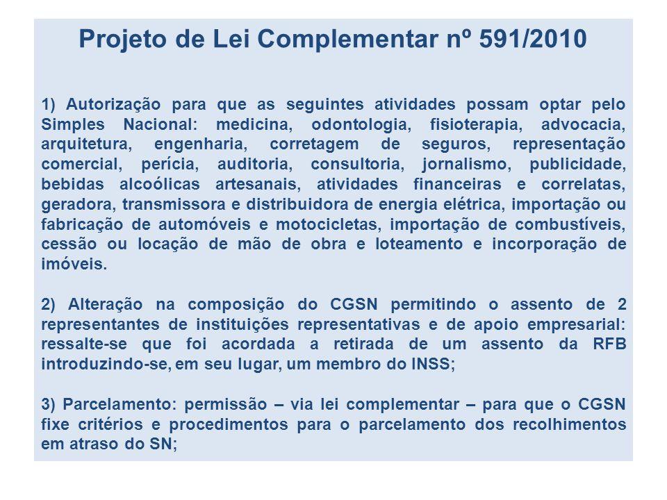 Projeto de Lei Complementar nº 591/2010 1) Autorização para que as seguintes atividades possam optar pelo Simples Nacional: medicina, odontologia, fis