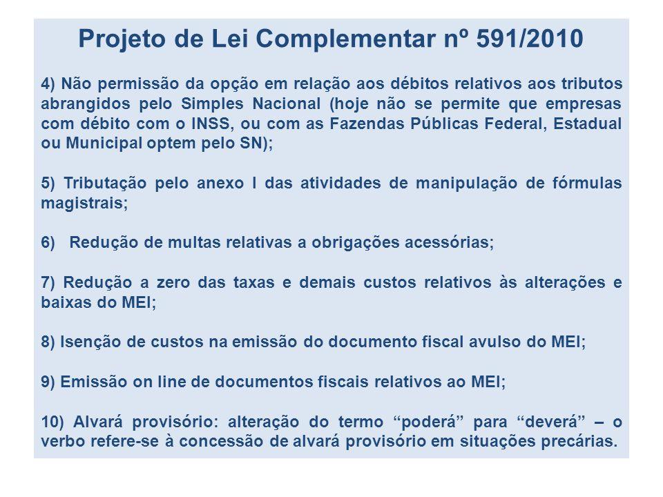 Projeto de Lei Complementar nº 591/2010 4) Não permissão da opção em relação aos débitos relativos aos tributos abrangidos pelo Simples Nacional (hoje