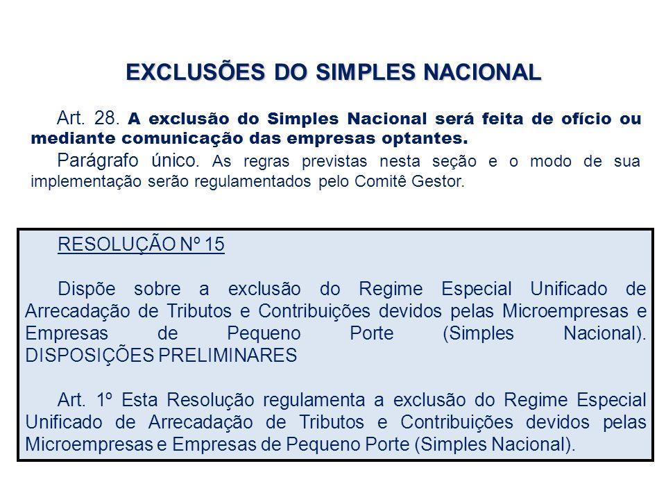EXCLUSÕES DO SIMPLES NACIONAL Art. 28. A exclusão do Simples Nacional será feita de ofício ou mediante comunicação das empresas optantes. Parágrafo ún