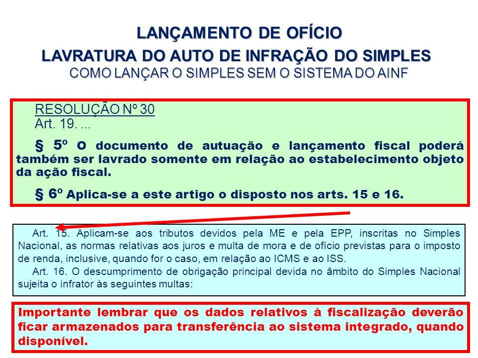 LANÇAMENTO DE OFÍCIO LAVRATURA DO AUTO DE INFRAÇÃO DO SIMPLES COMO LANÇAR O SIMPLES SEM O SISTEMA DO AINF RESOLUÇÃO Nº 30 Art. 19.... § 5º O documento