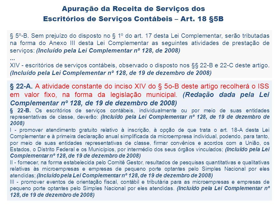 § 5º-B. Sem prejuízo do disposto no § 1º do art. 17 desta Lei Complementar, serão tributadas na forma do Anexo III desta Lei Complementar as seguintes
