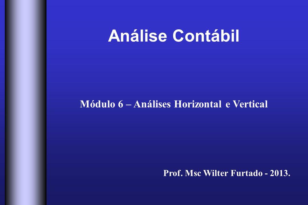 Análise Contábil Módulo 6 – Análises Horizontal e Vertical Prof. Msc Wilter Furtado - 2013.
