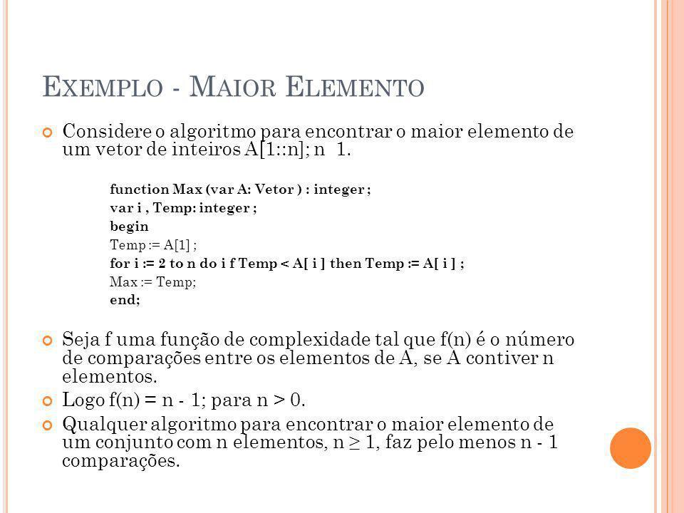 E XEMPLO - M AIOR E LEMENTO Considere o algoritmo para encontrar o maior elemento de um vetor de inteiros A[1::n]; n 1. function Max (var A: Vetor ) :