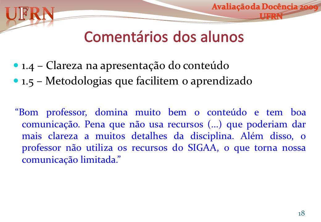 1.4 – Clareza na apresentação do conteúdo 1.5 – Metodologias que facilitem o aprendizado Bom professor, domina muito bem o conteúdo e tem boa comunica