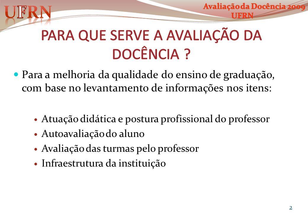 Para a melhoria da qualidade do ensino de graduação, com base no levantamento de informações nos itens: Atuação didática e postura profissional do pro