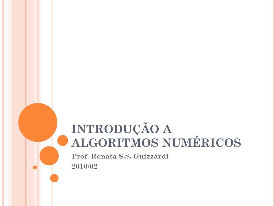 INTRODUÇÃO A ALGORITMOS NUMÉRICOS Prof. Renata S.S. Guizzardi 2010/02