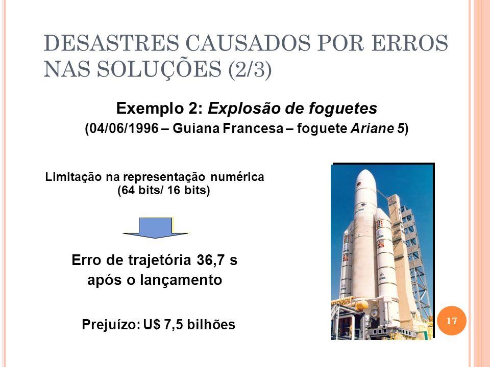 Exemplo 2: Explosão de foguetes (04/06/1996 – Guiana Francesa – foguete Ariane 5) 17 Erro de trajetória 36,7 s após o lançamento Limitação na represen