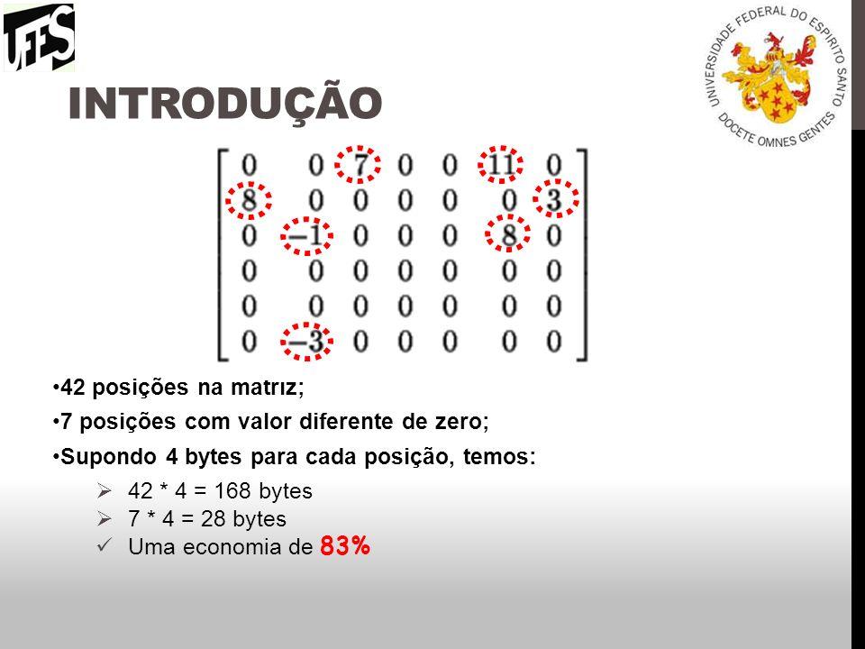 INTRODUÇÃO A elaboração de uma representação para matrizes esparsas deve levar em consideração: Facilidade de acesso tanto para linhas como para colunas (preservar a natureza bidimensional da matriz).
