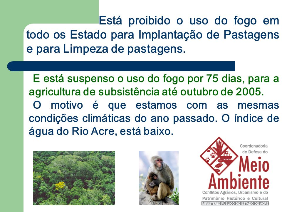 E está suspenso o uso do fogo por 75 dias, para a agricultura de subsistência até outubro de 2005. O motivo é que estamos com as mesmas condições clim