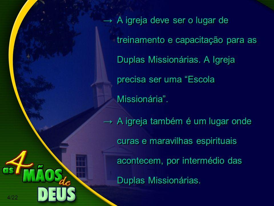 4/22 A igreja deve ser o lugar de treinamento e capacitação para as Duplas Missionárias. A Igreja precisa ser uma Escola Missionária. A igreja também