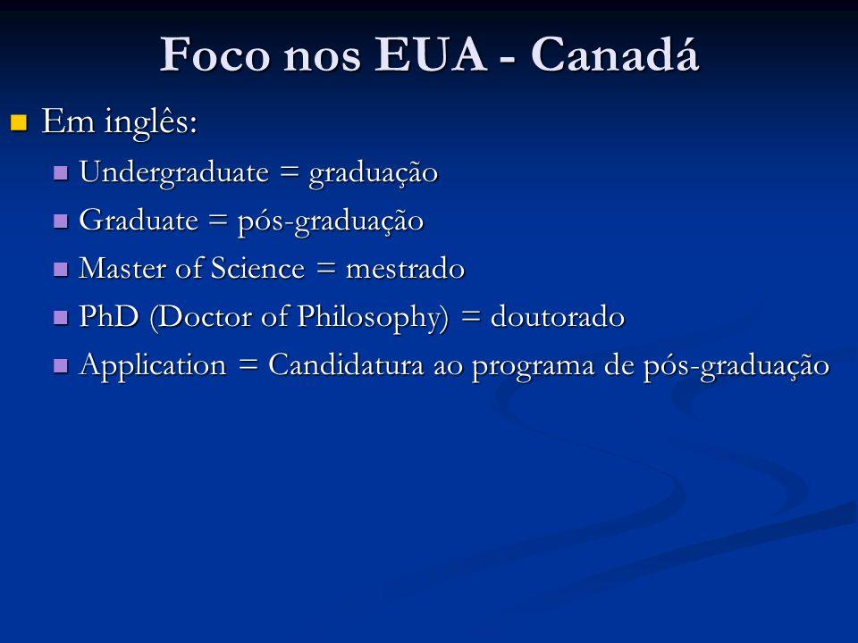 Foco nos EUA - Canadá Em inglês: Em inglês: Undergraduate = graduação Undergraduate = graduação Graduate = pós-graduação Graduate = pós-graduação Mast