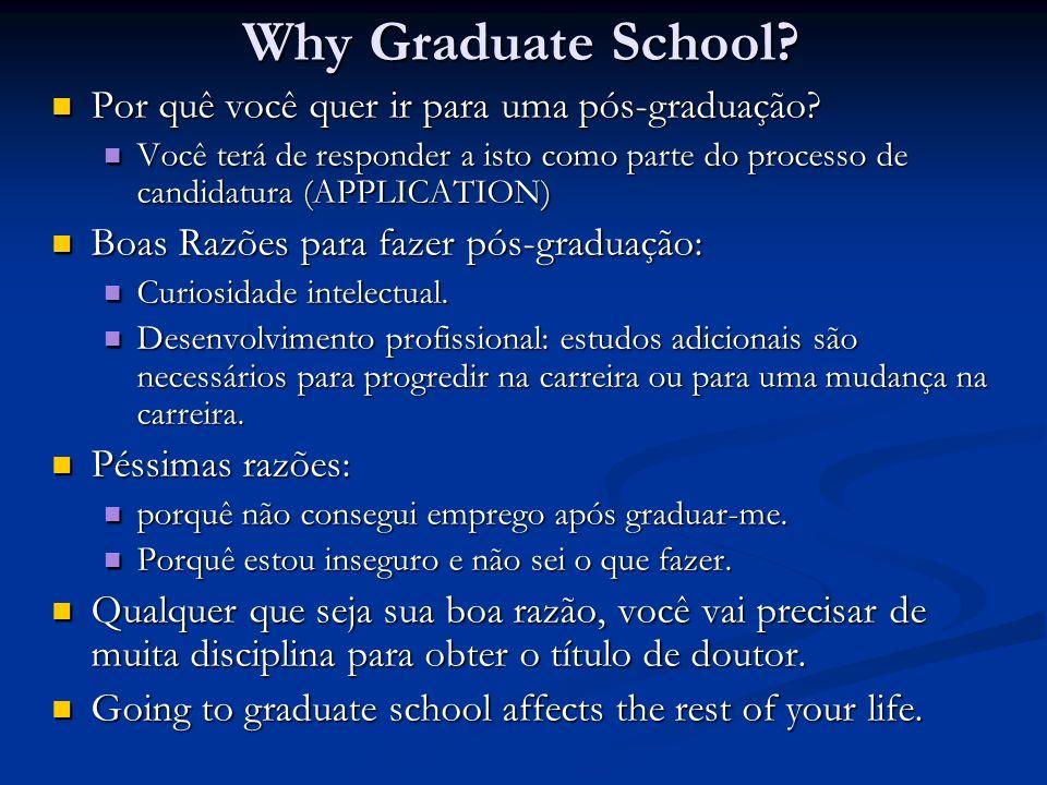 Why Graduate School? Por quê você quer ir para uma pós-graduação? Por quê você quer ir para uma pós-graduação? Você terá de responder a isto como part