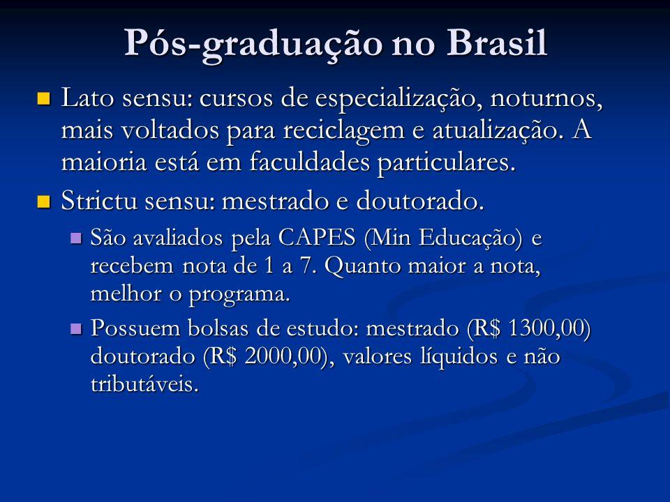 Pós-graduação no Brasil Lato sensu: cursos de especialização, noturnos, mais voltados para reciclagem e atualização. A maioria está em faculdades part