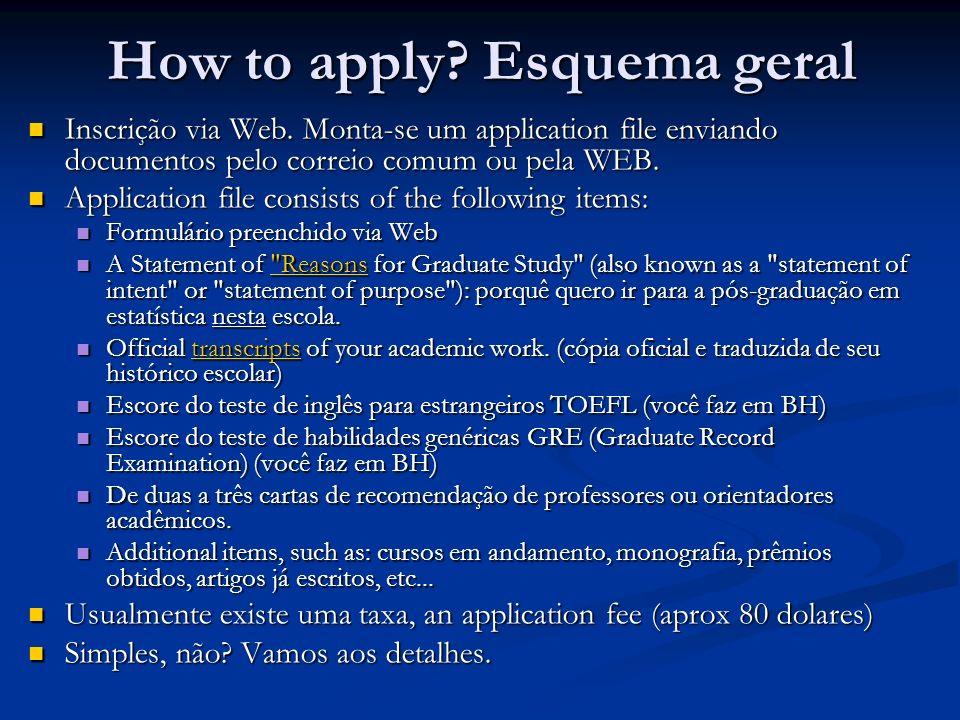How to apply? Esquema geral Inscrição via Web. Monta-se um application file enviando documentos pelo correio comum ou pela WEB. Inscrição via Web. Mon