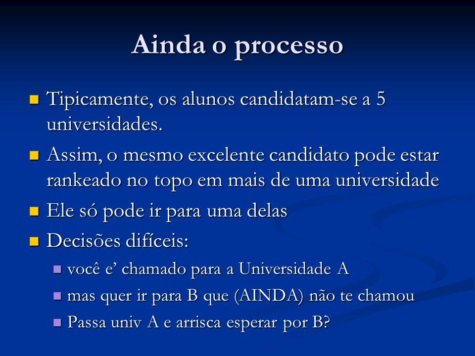 Ainda o processo Tipicamente, os alunos candidatam-se a 5 universidades. Tipicamente, os alunos candidatam-se a 5 universidades. Assim, o mesmo excele