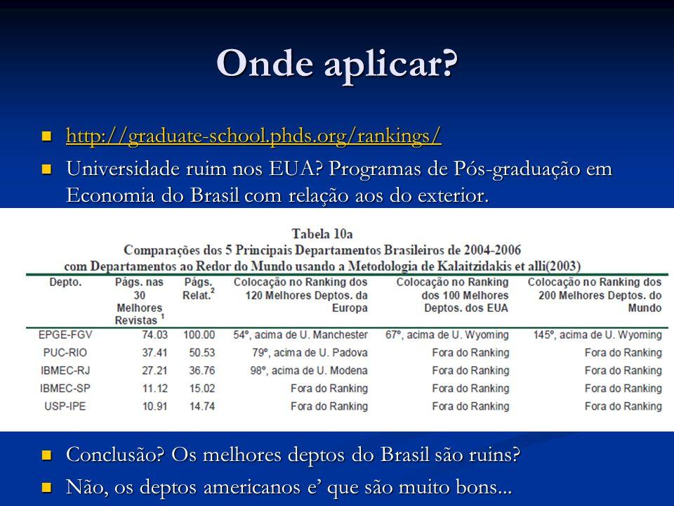 Onde aplicar? http://graduate-school.phds.org/rankings/ http://graduate-school.phds.org/rankings/ http://graduate-school.phds.org/rankings/ Universida