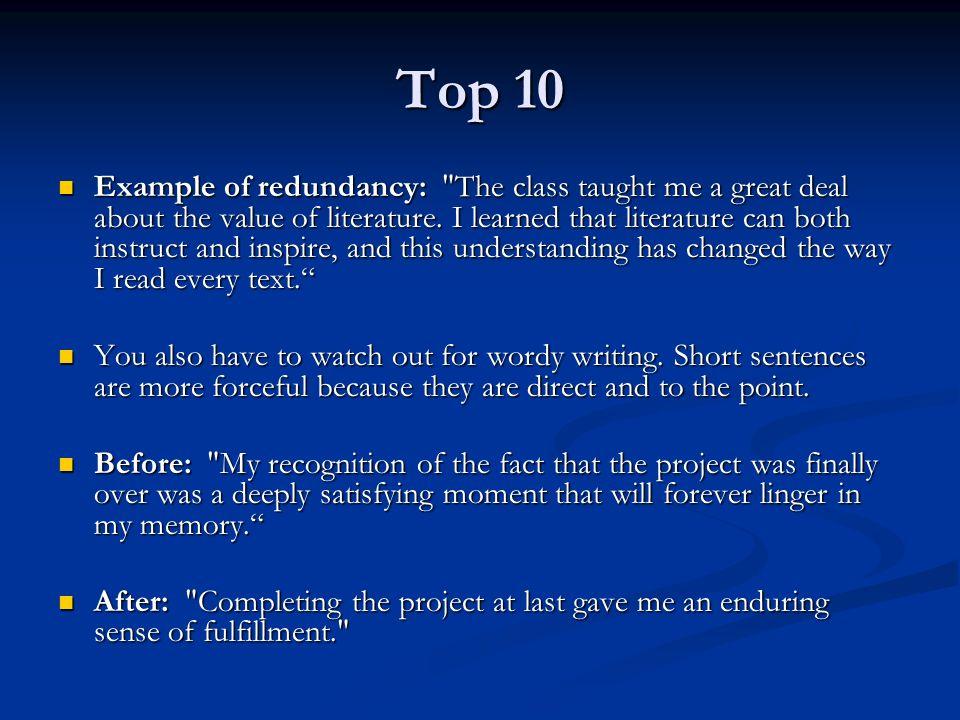 Top 10 Example of redundancy: