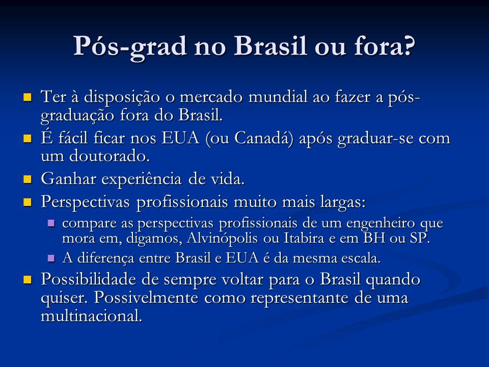 Pós-grad no Brasil ou fora? Ter à disposição o mercado mundial ao fazer a pós- graduação fora do Brasil. Ter à disposição o mercado mundial ao fazer a