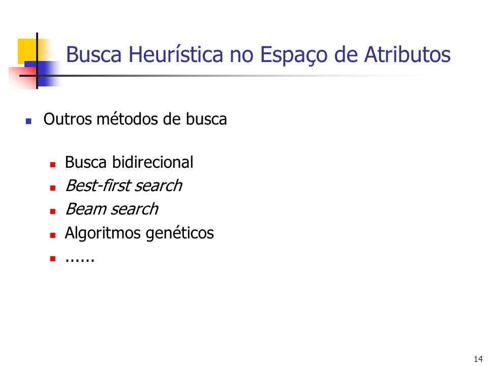 14 Busca Heurística no Espaço de Atributos Outros métodos de busca Busca bidirecional Best-first search Beam search Algoritmos genéticos......