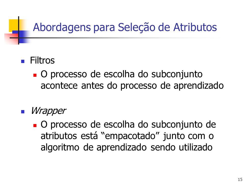 15 Abordagens para Seleção de Atributos Filtros O processo de escolha do subconjunto acontece antes do processo de aprendizado Wrapper O processo de escolha do subconjunto de atributos está empacotado junto com o algoritmo de aprendizado sendo utilizado