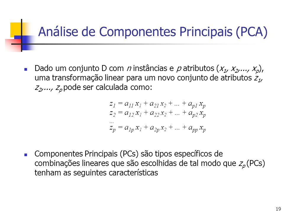 19 Análise de Componentes Principais (PCA) Dado um conjunto D com n instâncias e p atributos (x 1, x 2,..., x p ), uma transformação linear para um novo conjunto de atributos z 1, z 2,..., z p pode ser calculada como: Componentes Principais (PCs) são tipos específicos de combinações lineares que são escolhidas de tal modo que z p (PCs) tenham as seguintes características z 1 = a 11 x 1 + a 21 x 2 +...