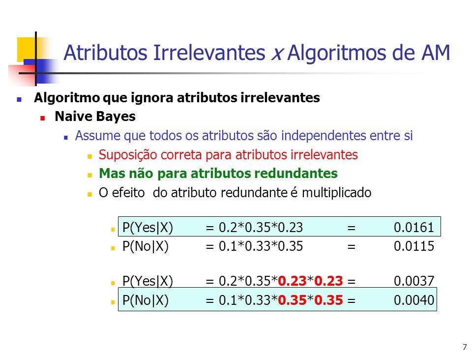 7 Atributos Irrelevantes x Algoritmos de AM Algoritmo que ignora atributos irrelevantes Naive Bayes Assume que todos os atributos são independentes entre si Suposição correta para atributos irrelevantes Mas não para atributos redundantes O efeito do atributo redundante é multiplicado P(Yes|X)= 0.2*0.35*0.23=0.0161 P(No|X)= 0.1*0.33*0.35=0.0115 P(Yes|X)= 0.2*0.35*0.23*0.23=0.0037 P(No|X)= 0.1*0.33*0.35*0.35=0.0040