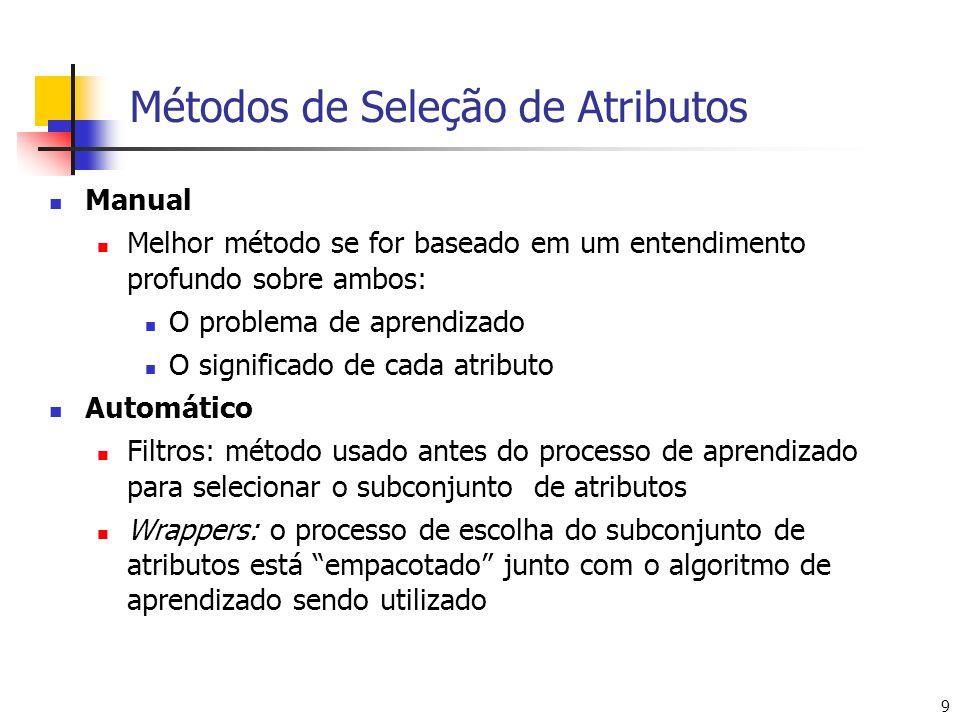 9 Métodos de Seleção de Atributos Manual Melhor método se for baseado em um entendimento profundo sobre ambos: O problema de aprendizado O significado de cada atributo Automático Filtros: método usado antes do processo de aprendizado para selecionar o subconjunto de atributos Wrappers: o processo de escolha do subconjunto de atributos está empacotado junto com o algoritmo de aprendizado sendo utilizado