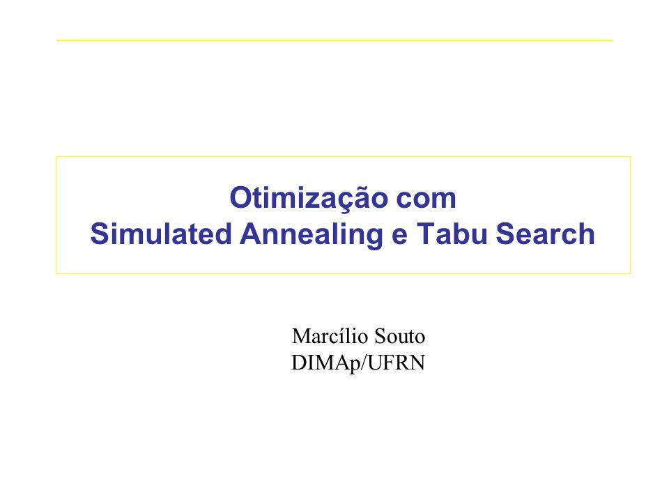 _____________________________________________________________________________ Otimização com Simulated Annealing e Tabu Search Marcílio Souto DIMAp/UF
