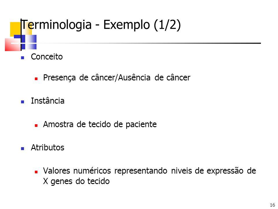 16 Terminologia - Exemplo (1/2) Conceito Presença de câncer/Ausência de câncer Instância Amostra de tecido de paciente Atributos Valores numéricos rep