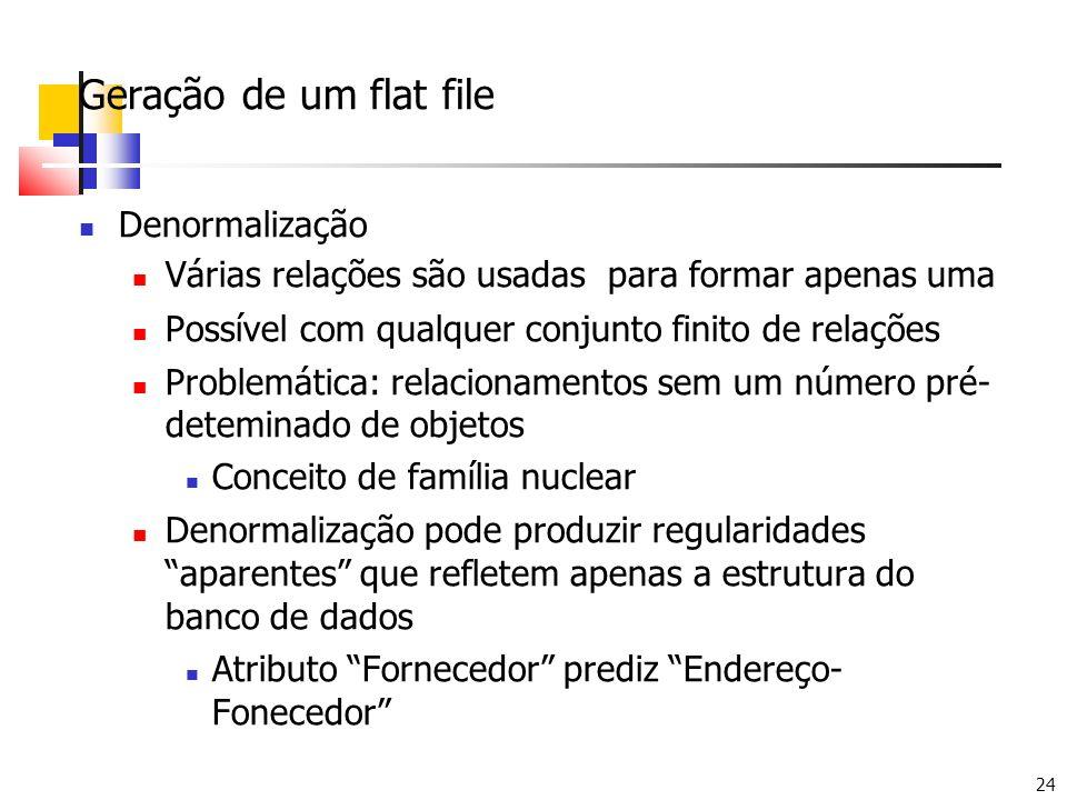 24 Geração de um flat file Denormalização Várias relações são usadas para formar apenas uma Possível com qualquer conjunto finito de relações Problemá