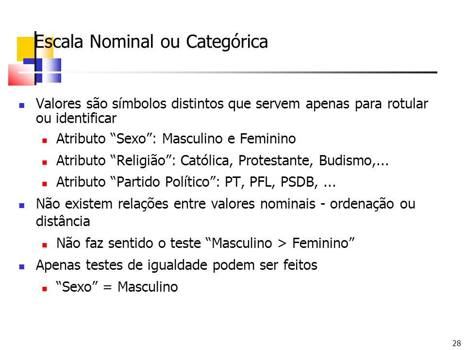 28 Escala Nominal ou Categórica Valores são símbolos distintos que servem apenas para rotular ou identificar Atributo Sexo: Masculino e Feminino Atrib