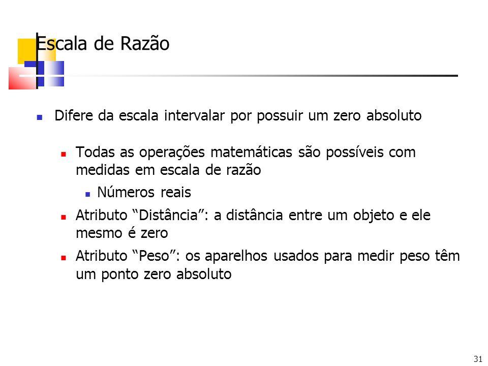 31 Escala de Razão Difere da escala intervalar por possuir um zero absoluto Todas as operações matemáticas são possíveis com medidas em escala de razã