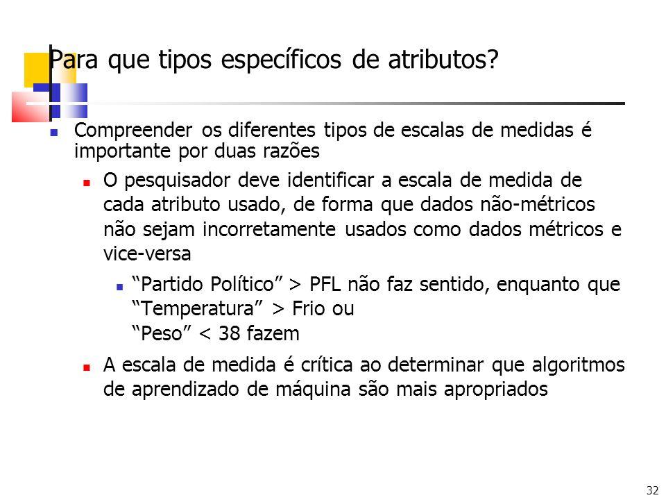 32 Para que tipos específicos de atributos? Compreender os diferentes tipos de escalas de medidas é importante por duas razões O pesquisador deve iden