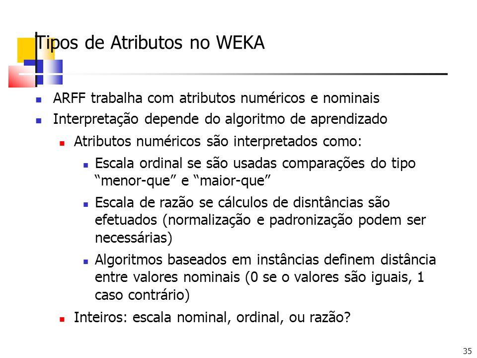 35 Tipos de Atributos no WEKA ARFF trabalha com atributos numéricos e nominais Interpretação depende do algoritmo de aprendizado Atributos numéricos s