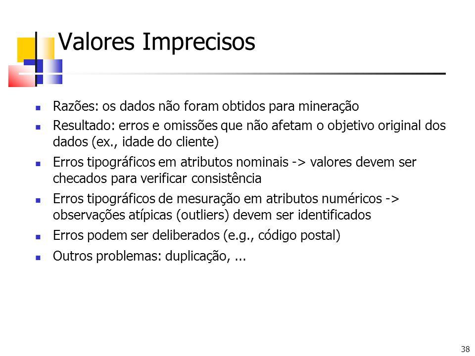 38 Valores Imprecisos Razões: os dados não foram obtidos para mineração Resultado: erros e omissões que não afetam o objetivo original dos dados (ex.,