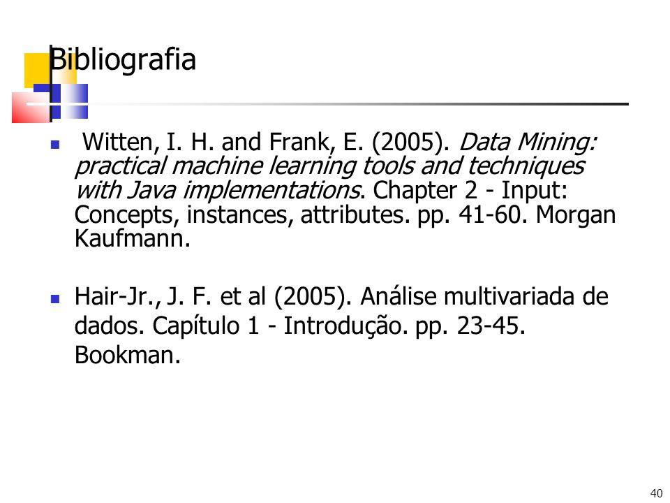 40 Bibliografia Witten, I. H. and Frank, E. (2005).