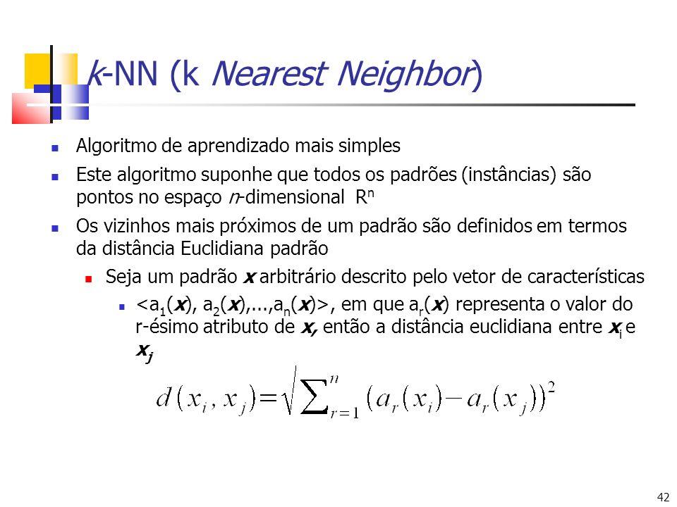 42 k-NN (k Nearest Neighbor) Algoritmo de aprendizado mais simples Este algoritmo suponhe que todos os padrões (instâncias) são pontos no espaço n-dim