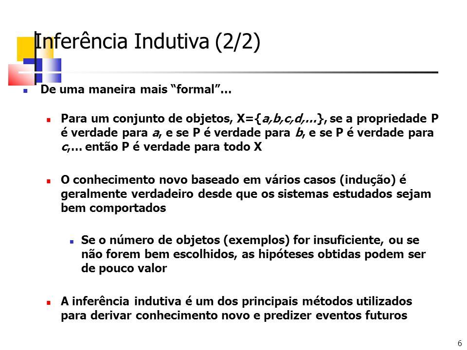 6 Inferência Indutiva (2/2) De uma maneira mais formal... Para um conjunto de objetos, X={a,b,c,d,...}, se a propriedade P é verdade para a, e se P é