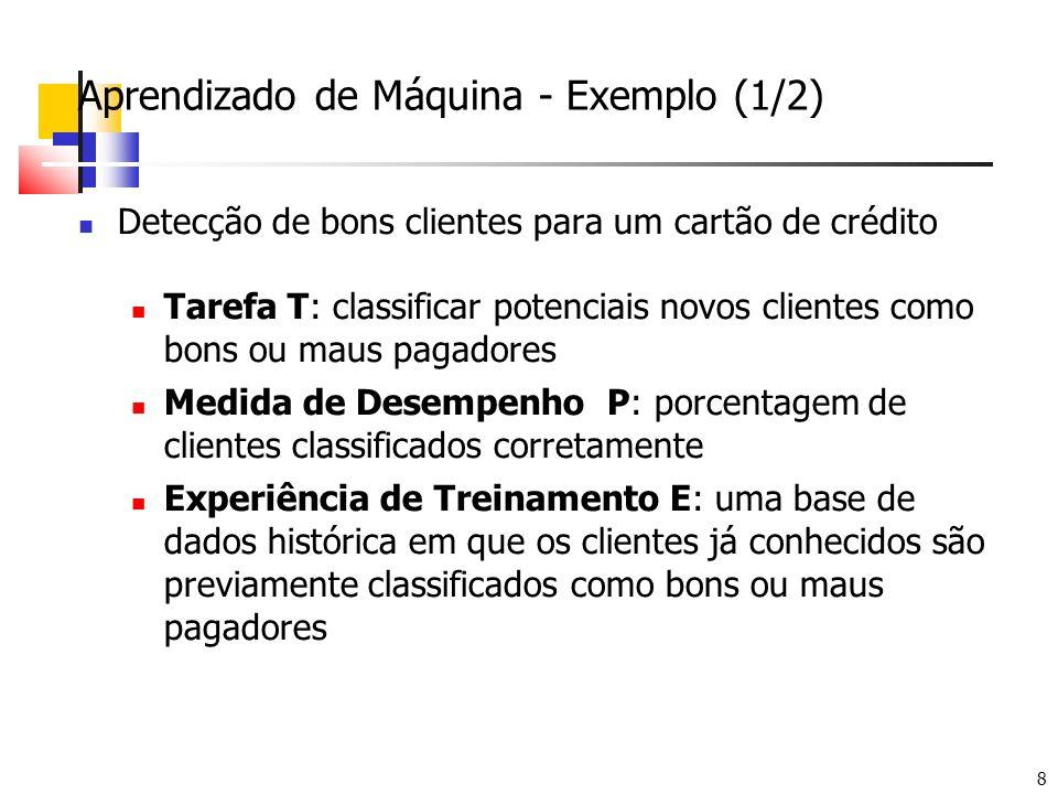 8 Aprendizado de Máquina - Exemplo (1/2) Detecção de bons clientes para um cartão de crédito Tarefa T: classificar potenciais novos clientes como bons