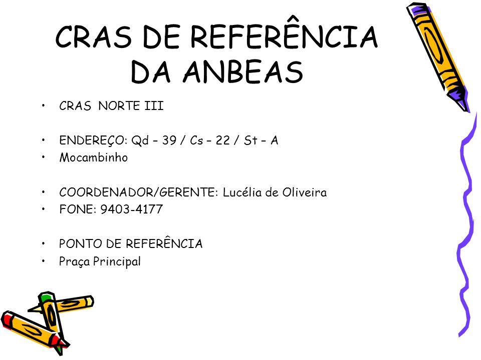 CRAS DE REFERÊNCIA DA ANBEAS CRAS NORTE III ENDEREÇO: Qd – 39 / Cs – 22 / St – A Mocambinho COORDENADOR/GERENTE: Lucélia de Oliveira FONE: 9403-4177 PONTO DE REFERÊNCIA Praça Principal