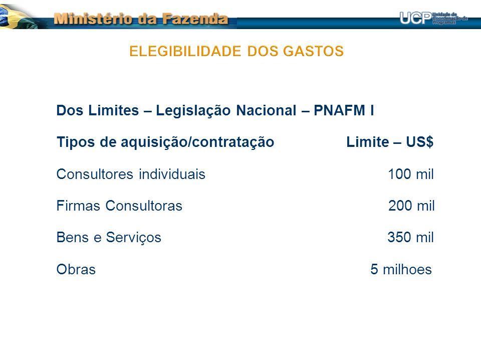 Dos Limites – Legislação Nacional – PNAFM I Tipos de aquisição/contratação Limite – US$ Consultores individuais 100 mil Firmas Consultoras 200 mil Bens e Serviços 350 mil Obras 5 milhoes