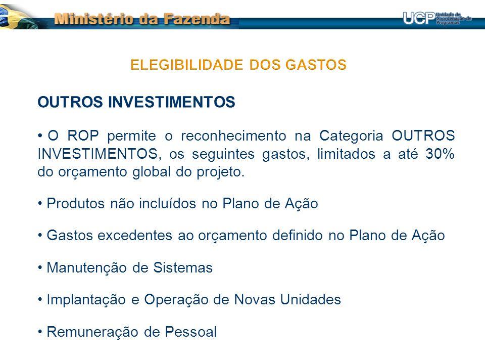 OUTROS INVESTIMENTOS O ROP permite o reconhecimento na Categoria OUTROS INVESTIMENTOS, os seguintes gastos, limitados a até 30% do orçamento global do projeto.