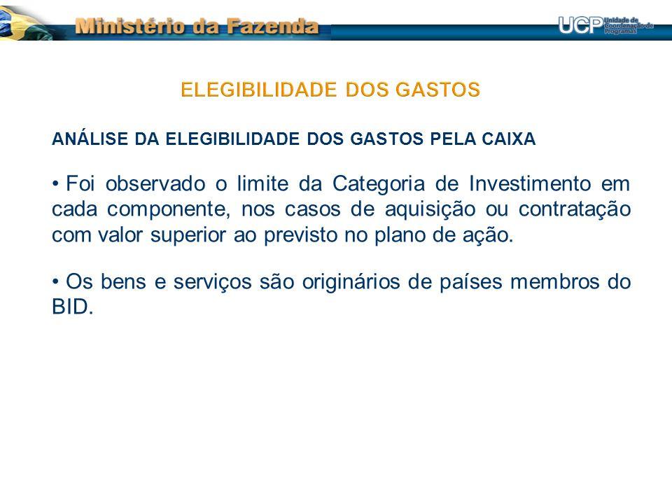 ANÁLISE DA ELEGIBILIDADE DOS GASTOS PELA CAIXA Foi observado o limite da Categoria de Investimento em cada componente, nos casos de aquisição ou contratação com valor superior ao previsto no plano de ação.
