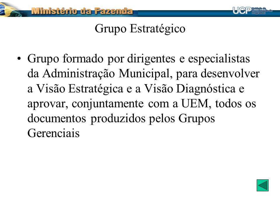Grupo Estratégico Grupo formado por dirigentes e especialistas da Administração Municipal, para desenvolver a Visão Estratégica e a Visão Diagnóstica