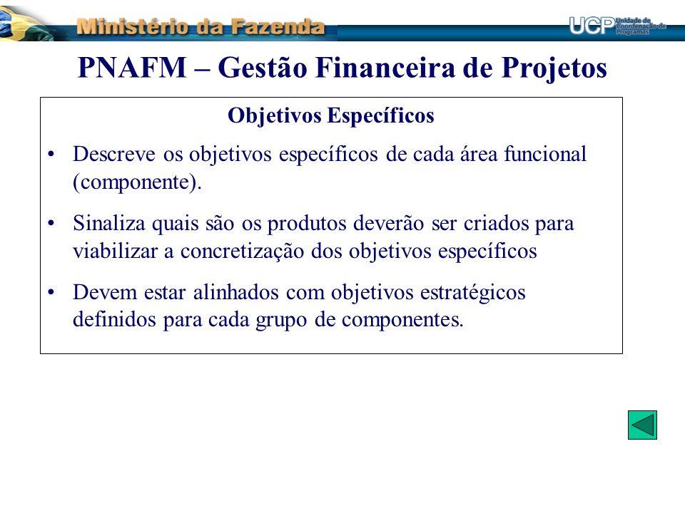 Objetivos Específicos Descreve os objetivos específicos de cada área funcional (componente). Sinaliza quais são os produtos deverão ser criados para v