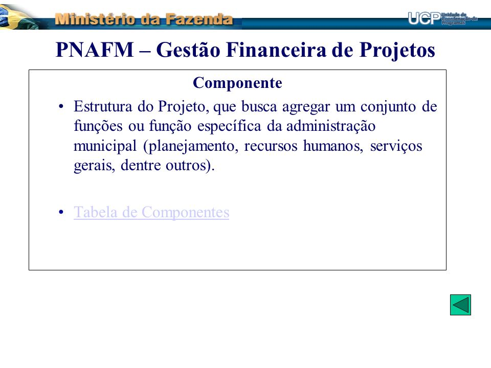Componente Estrutura do Projeto, que busca agregar um conjunto de funções ou função específica da administração municipal (planejamento, recursos huma
