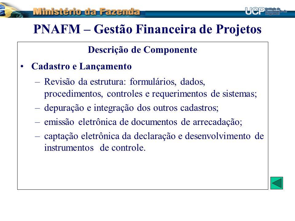 Descrição de Componente Cadastro e Lançamento –Revisão da estrutura: formulários, dados, procedimentos, controles e requerimentos de sistemas; –depura