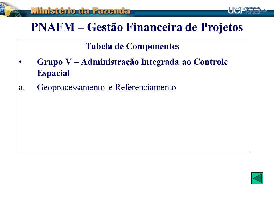 Tabela de Componentes Grupo V – Administração Integrada ao Controle Espacial a.Geoprocessamento e Referenciamento PNAFM – Gestão Financeira de Projeto
