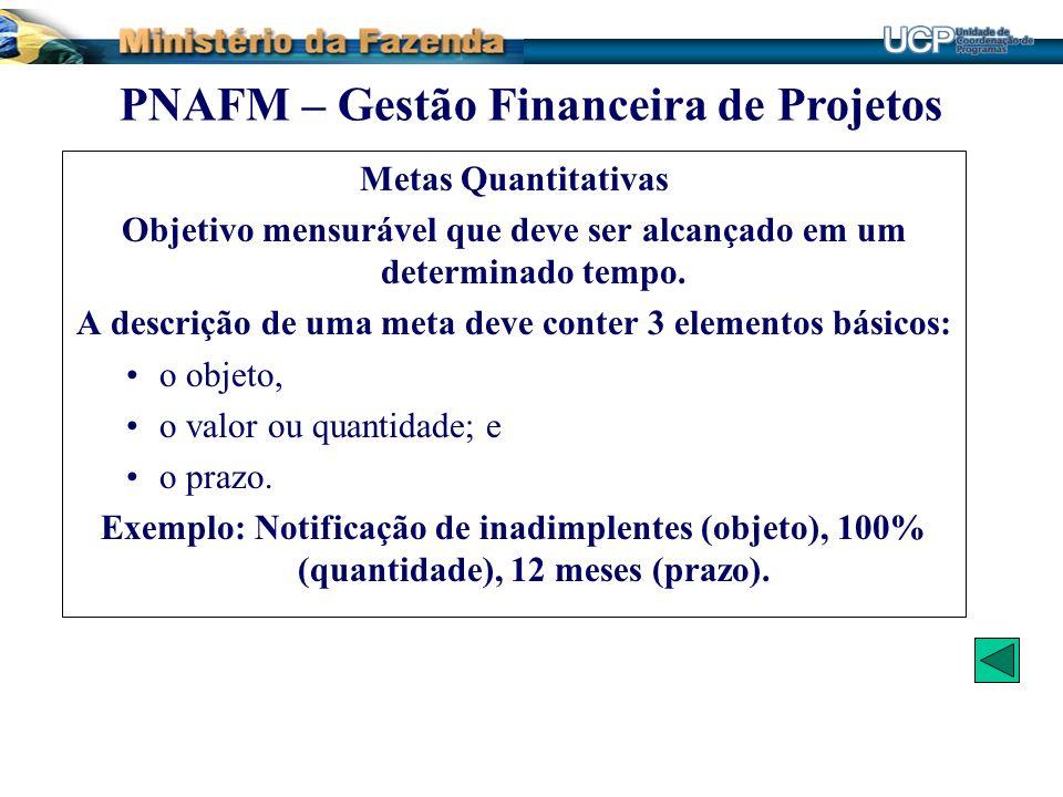 Metas Quantitativas Objetivo mensurável que deve ser alcançado em um determinado tempo. A descrição de uma meta deve conter 3 elementos básicos: o obj