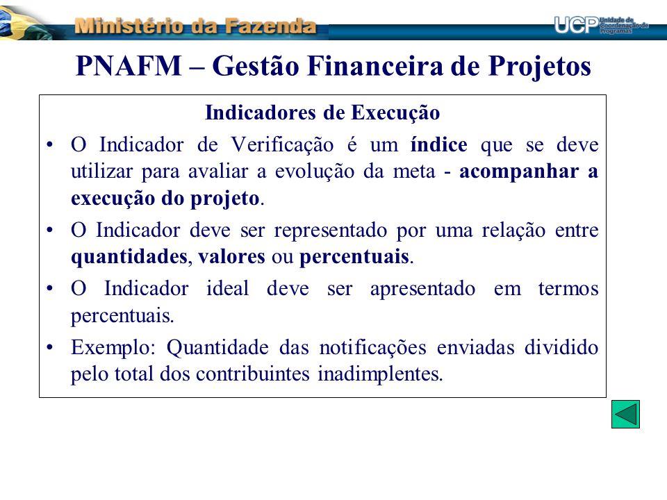 Indicadores de Execução O Indicador de Verificação é um índice que se deve utilizar para avaliar a evolução da meta - acompanhar a execução do projeto